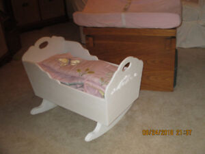 Highchair, cradle, change pad
