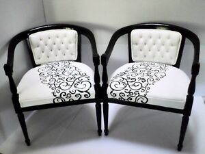 Fantastic Set of 2 Hand Painted Fabric  Antique  Chairs