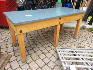 Solid hardwood retro vintage table from post office