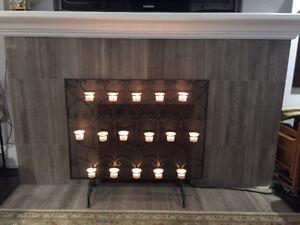 Decorative Fireplace screen Tea Lights.