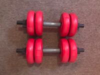 Pair of dumbbell weights. 8kg each.