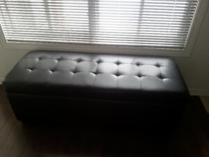 moving selling black faux leather storage bench