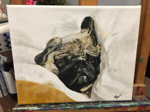 Baby Pug Canvas Painting 8x10 Acrylic