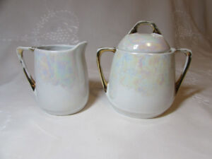 Antique/Vintage Opalescent NPS Silesia Creamer & Sugar Bowl with