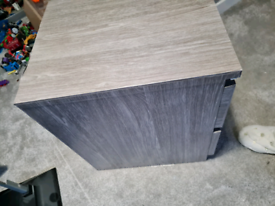 Malm 2 draw bedside cabinet wrapped in grey