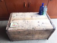 REAL VINTAGE ANTIQUE WOODEN BOX COFFEE TABLE INDUSTRIAL STYLE STORAGE