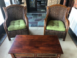 Wicker Chairs (3) & Coffee Table