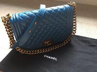 Chanel Le Boy caviar in Blue with Bronze Hardware real calf leather