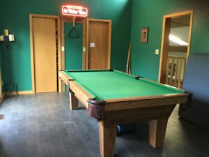 Beautiful Solid Oak Olhausen Pool table - SOLD