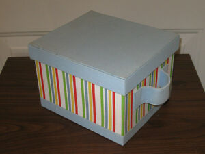 ...A COLORFUL STRIPED LINEN-LIKE-FINISHED TOTE-BOX with COVER..