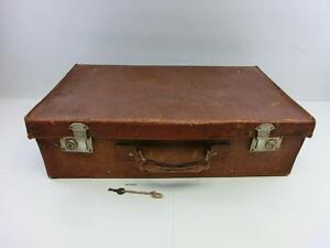 Antiker alter Lederkoffer Reisekoffer Leder mit Schlüssel Deko Oldtimer #170127
