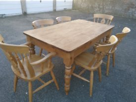 Farmhouse Country Pine dining table & 6 chairs, local delivery poss