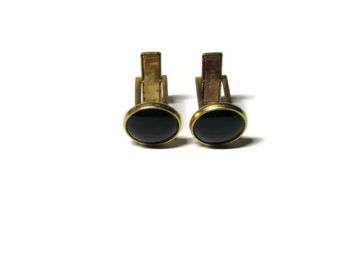 Vtg Mens Pioneer Cufflinks Gold-Tone Polished Black Stone 1970