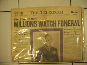 Vintage Toronto Telegram King George Funeral Newspaper Circa1952