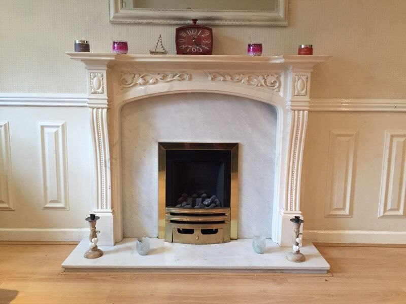 Fireplace Design marble fireplace surround : Marble fireplace surround, marble back plate, marble hearth and ...
