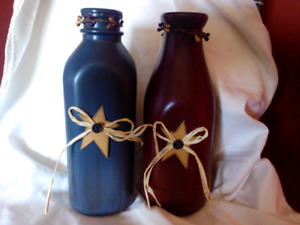 Primative hand painted milk bottle