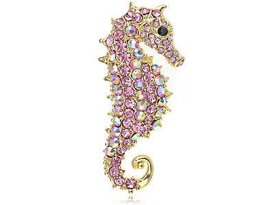 Rose Pink Aurora Borealis Crystal Rhinestone Seahorse Fashion Brooch Pin Pendant