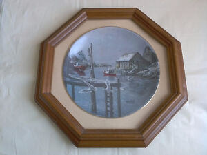 """Dawn, Peggy's Cove"" 1985 Commemorative Plate/Framed London Ontario image 1"