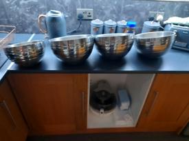 Metal food display bowls