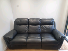Black leather recliner sofa and armchair