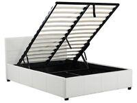 New White Kingsize Ottoman Storage Bed