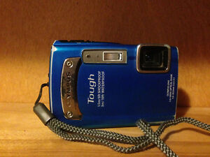 OLYMPUS Blue TG320 Camera with accessories