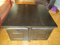 Black Solid Wood Table with Four Nesting Storage Stools