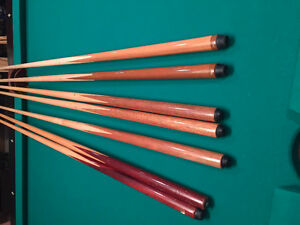 Pool Cues - 7 in lot or will sell indiviudally - Beutiful Shape.