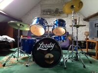 Leedy full drum kit with all hardware, cymbals and stool