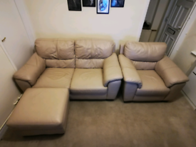 Leather cream colour sofa set