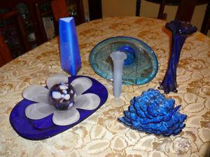 Superbe ensemble d'accessoires/décoration style Murano, saphir