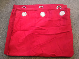 2 pairs red cotton lined large curtains FREE