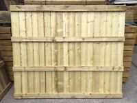 Flat Top New Garden Feather Edge Fence Panels