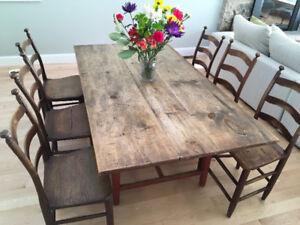 Antique Stretcher Base Table with 6 Sibley chairs