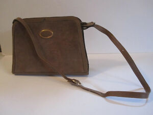 Tan Leather and Suede Shoulder Bag