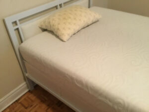 WHITE METAL  Twin XL SIZE BED FRAME WITH HEADBOARD