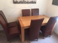 MUST GO - Solid wood Table, 6 chairs and sideboard (Matching set)