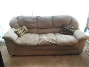 Beige Suede Fabric 3-Seat Couch!