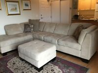 Beautiful microfibre sectional taupe