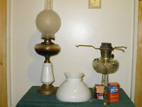 ANTIQUE OIL AND ALADIN LAMPS AND PARTS