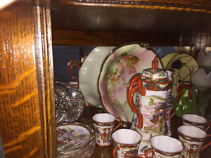 Victorian Antique Oak Curved Glass China Cabinet Kitchener / Waterloo Kitchener Area image 9