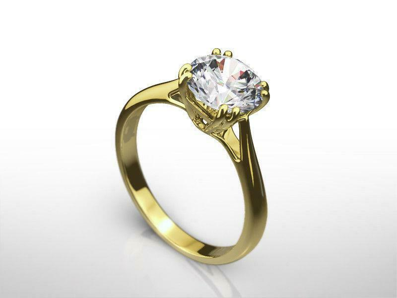 Diamond Ring Round Brilliant 14 Karat Yellow Gold Classic Solitaire 1 1/2 Ct