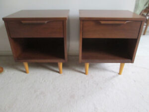 sold pending p / u Mid Century walnut nightstands side tables