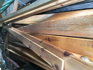 """Pine tongue and groove siding (used interior). 5 1/2 w x 7-8"""" L"""