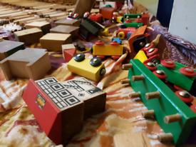 Wooden train track set