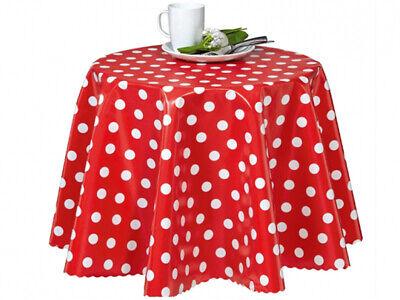 Wachstuch Tischdecke abwaschbar Gartentischdecke Meterware Polka dots Rot ÖkoTex ()