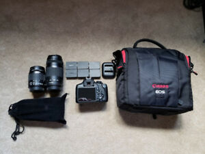 Canon Rebel T6 + 6 batteries + flash + 2 lentilles + sac Canon