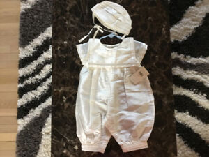 Baptism romper with bonnet, ivory