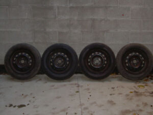 "Winter tires 185 70 R 14"" and steel rims, Champiro 4 holes type"