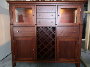 Solid Cherry wood Bar Cabinet / Dining Hutch